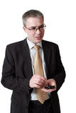 Businessman with smartphone Stock Photos