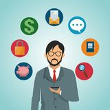 Businessman with smartphone. Vector illustration graphic design Royalty Free Stock Photos