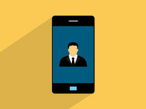 Businessman  on smartphone,cell phone illustration Royalty Free Stock Photography