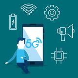 Businessman and smartphone with connectivity 5g. Vector illustration stock illustration