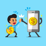 Businessman and smartphone earning money Stock Photo