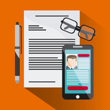 Businessman smartphone pen cv document glasses icon. Company rosource design. colorful and flat illustration Stock Images