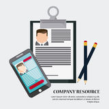 Businessman smartphone pencil cv document icon. Company rosource design. colorful and flat illustration Royalty Free Stock Images