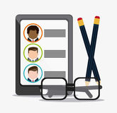 Businessman smartphone pencil glasses cv document icon. Vector g. Businessman smartphone pencil glasses cv document icon. Company rosource design. colorful and Royalty Free Stock Image