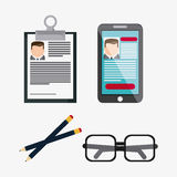 Businessman smartphone pencil glasses cv document icon. Vector g. Businessman smartphone pencil glasses cv document icon. Company rosource design. colorful and Royalty Free Stock Photo