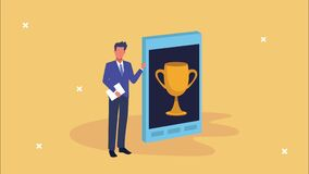 Businessman with smartphone and trophy cup animation
