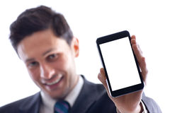 Businessman and smartphone Royalty Free Stock Images