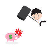 Businessman, smashed piggy bank with hammer, in  form, saving concept. Businessman, smashed piggy bank with hammer, in  form , saving concept Stock Photo