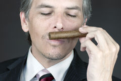 Businessman Smells Cigar Royalty Free Stock Photo