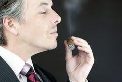 Businessman Smells Cigar, Side Stock Image