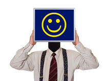 Businessman with smile computer screen Stock Photos