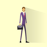 Businessman smile hold briefcase, full length Royalty Free Stock Photo