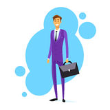 Businessman Smile Hold Briefcase Full Length Flat Stock Images