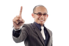 Businessman smile show number one fingers Stock Images