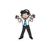 Businessman smiles and waves his hands Royalty Free Stock Image