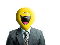 Businessman with smiley face instead of head Stock Photography