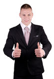 Businessman smiling with all right Royalty Free Stock Image