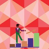Businessman Smiling and Climbing the Bar Chart Upward. Happy Man in Suit Following an Arrow Go Up the Columnar Graph. Smiling Businessman Climbing Colorful Bar stock illustration