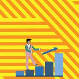 Businessman Smiling and Climbing the Bar Chart Upward. Happy Man in Suit Following an Arrow Go Up the Columnar Graph. Smiling Businessman Climbing Colorful Bar vector illustration
