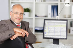 Businessman Smiling With Computer On Desk Stock Photos