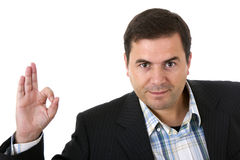 Businessman smiling doing the ok sign Royalty Free Stock Photography
