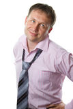 Businessman. Smiling man wearing tie and is ready for work on white stock image