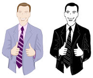 Businessman, smiling, showing thumbs up. Color and monochrome, vector illustration Royalty Free Stock Photography