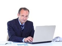 Businessman smiling while working Royalty Free Stock Photo