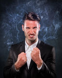 Businessman smoking with anger Stock Photos