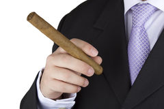 Businessman smoking a cigar Stock Photography