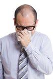Businessman sneeze isolated Stock Photo