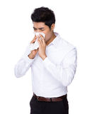 Businessman sneeze Stock Photo