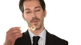 Businessman and soap bubbles stock footage