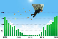 Businessman soaring on wings of money over low earnings part of graph a metaphor for financial and stock market success. Businessman soaring on wings of money Royalty Free Stock Photography