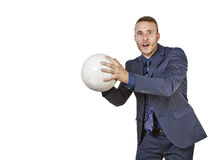 Businessman with soccer bal Royalty Free Stock Image