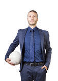 Businessman with soccer bal Stock Image