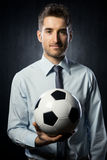 Businessman with soccer ball Royalty Free Stock Images