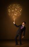 Businessman with a social media balloon Stock Photos