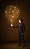 Businessman with a social media balloon Stock Photo