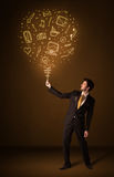 Businessman with a social media balloon Stock Image
