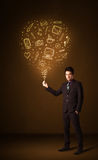 Businessman with a social media balloon Royalty Free Stock Photo