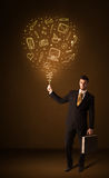 Businessman with a social media balloon Stock Photography
