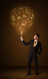 Businessman with a social media balloon Royalty Free Stock Images