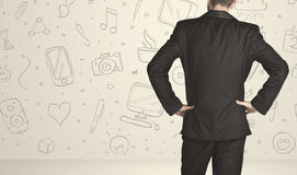 Businessman with social media icons Royalty Free Stock Photo