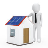 Businessman solar house. Businessman stand next a house with solar Stock Image