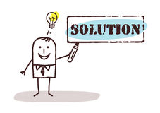 Businessman with solution sign Royalty Free Stock Photo