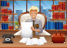 Businessman sorting out files. Illustration Royalty Free Stock Photography