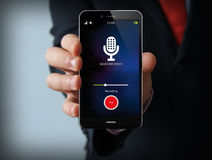 Businessman with sound recorder smartphone Royalty Free Stock Image