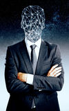 Businessman in space. Abstract businessman with polygonal head on space background Stock Photo