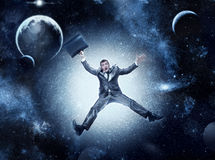 Businessman in space Stock Photography